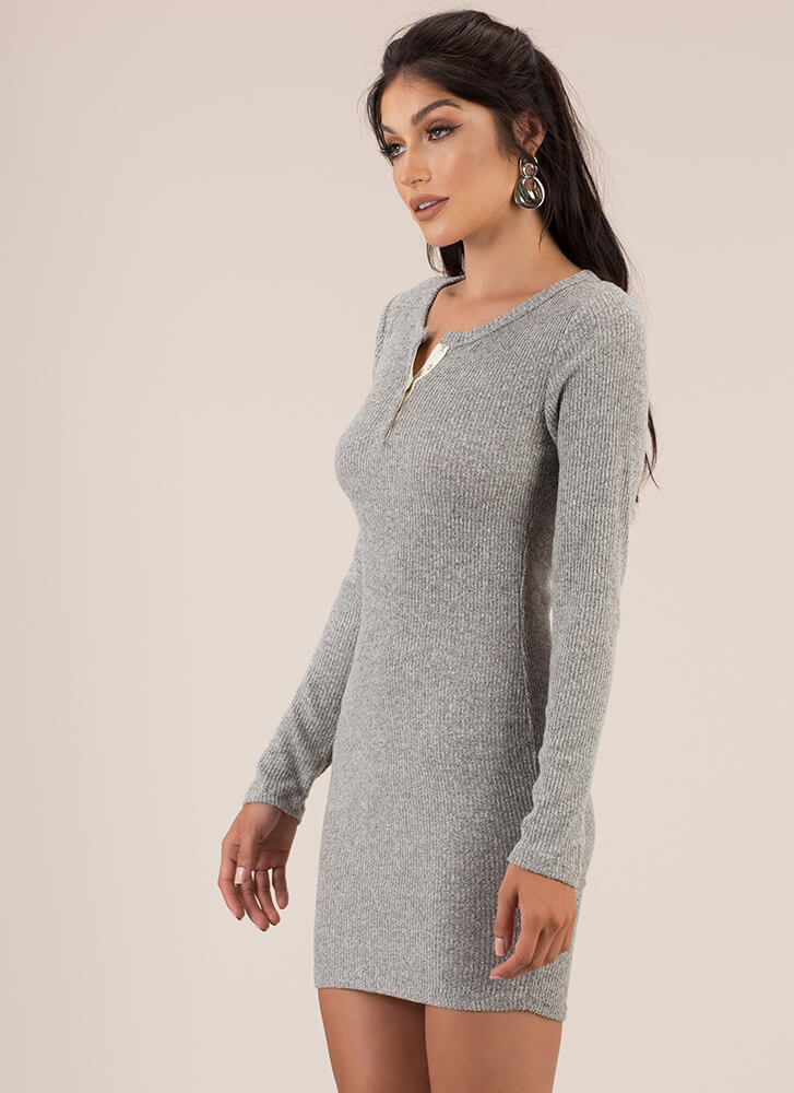 Get Going Ribbed Snap Button Minidress HGREY