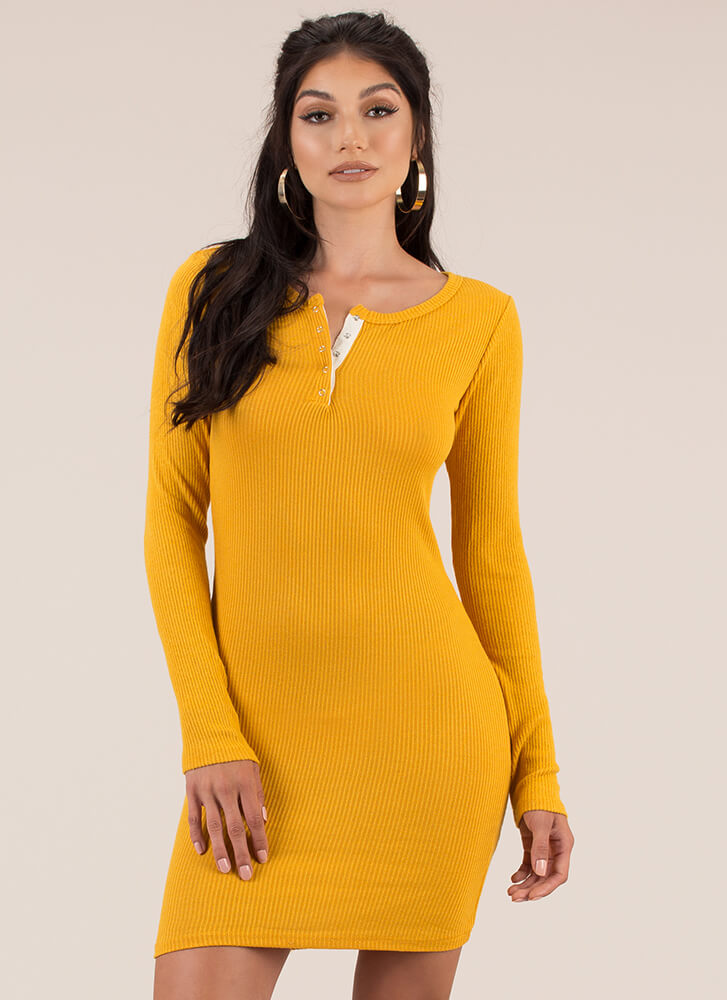 Get Going Ribbed Snap Button Minidress MUSTARD