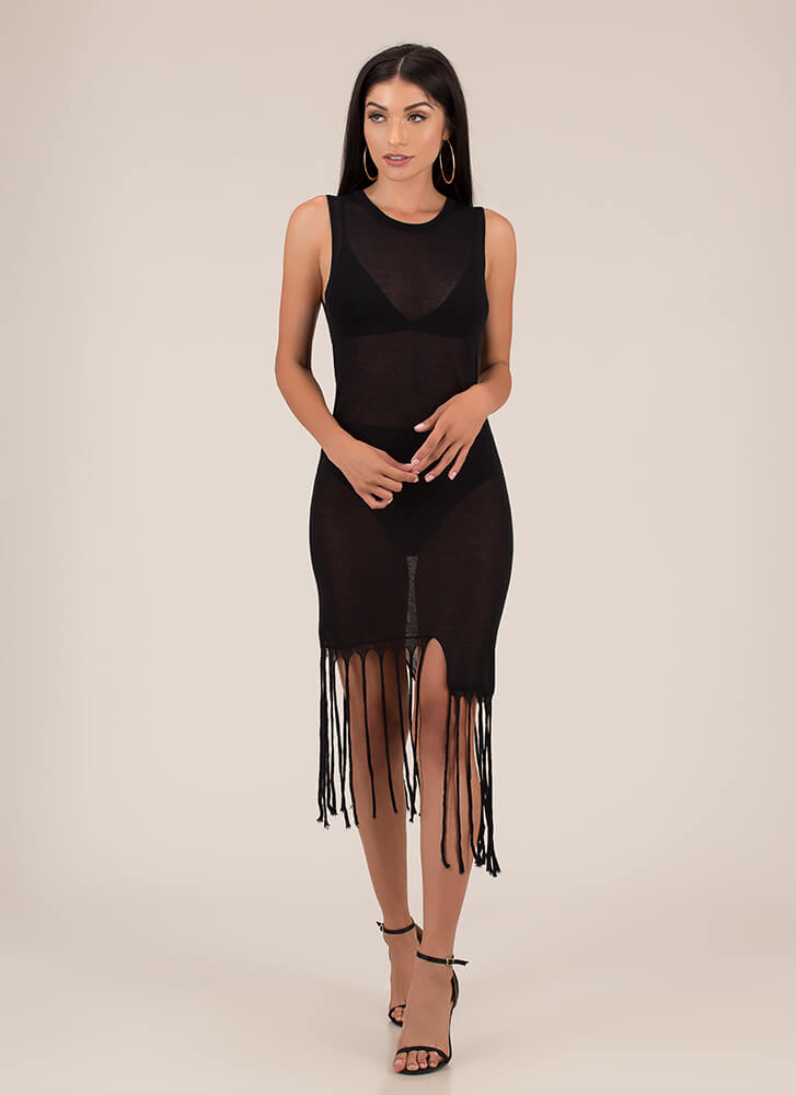Don't Get Mad Get Uneven Fringe Dress BLACK