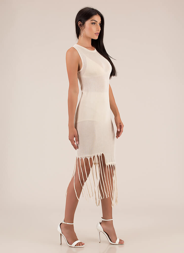 Don't Get Mad Get Uneven Fringe Dress CREAM