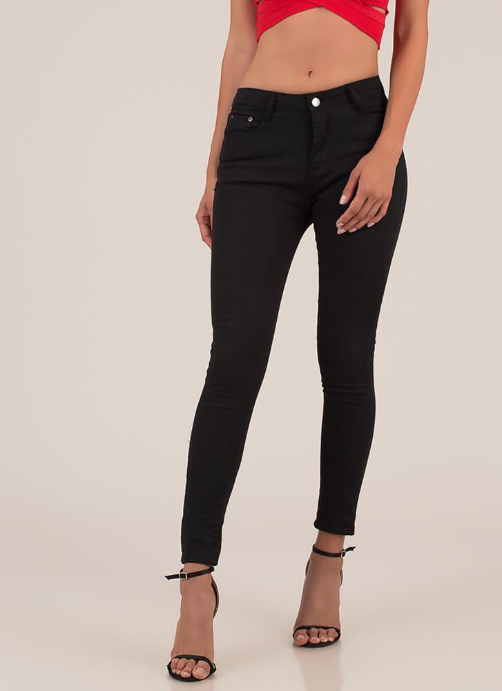 Back In Action Zip-Back Skinny Jeans BLACK
