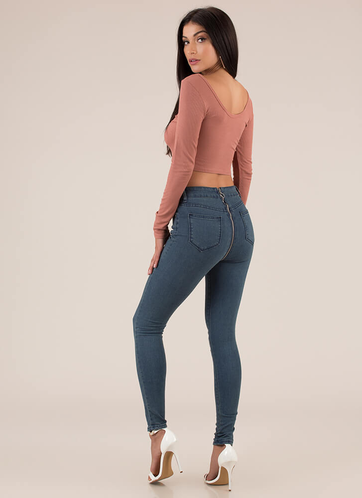 Back In Action Zip-Back Skinny Jeans BLUE