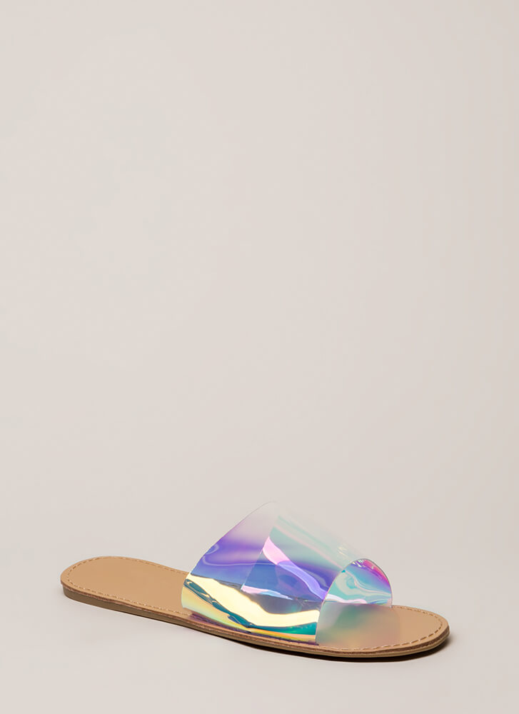 Slip And Slide Holographic Sandals SILVER