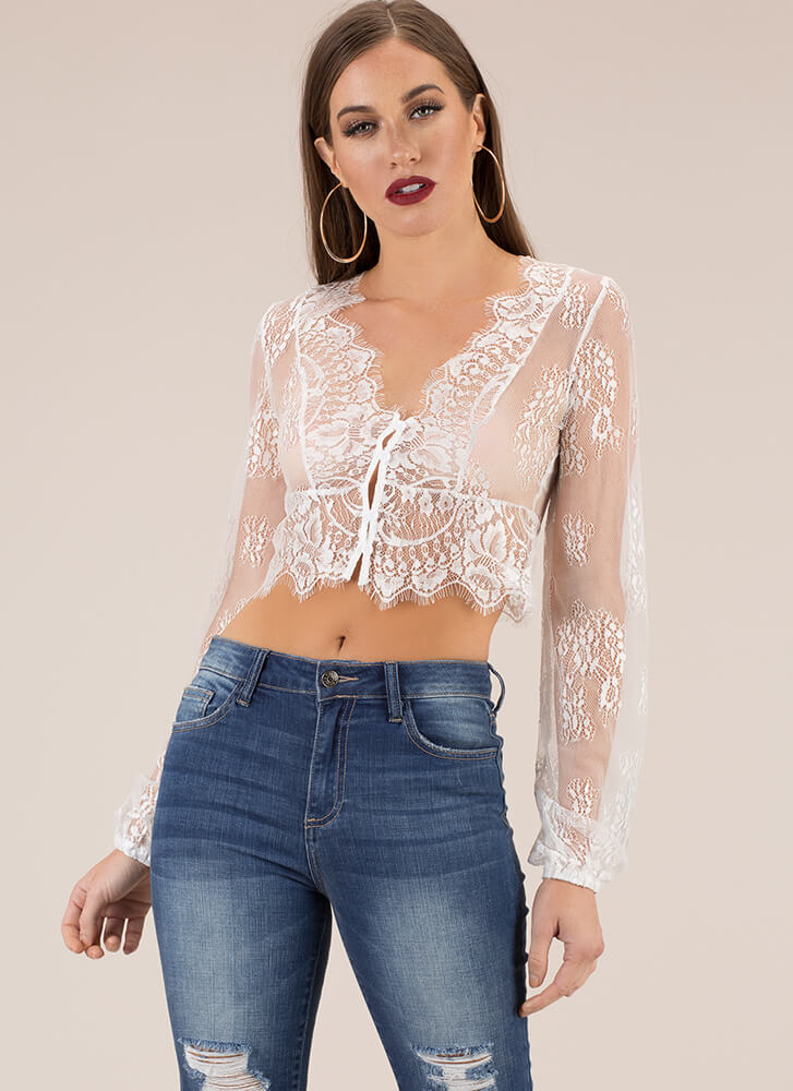 Loveliest Lace Button-Up Crop Top WHITE