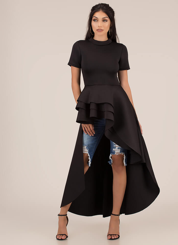 Going To Extremes High-Low Peplum Top BLACK