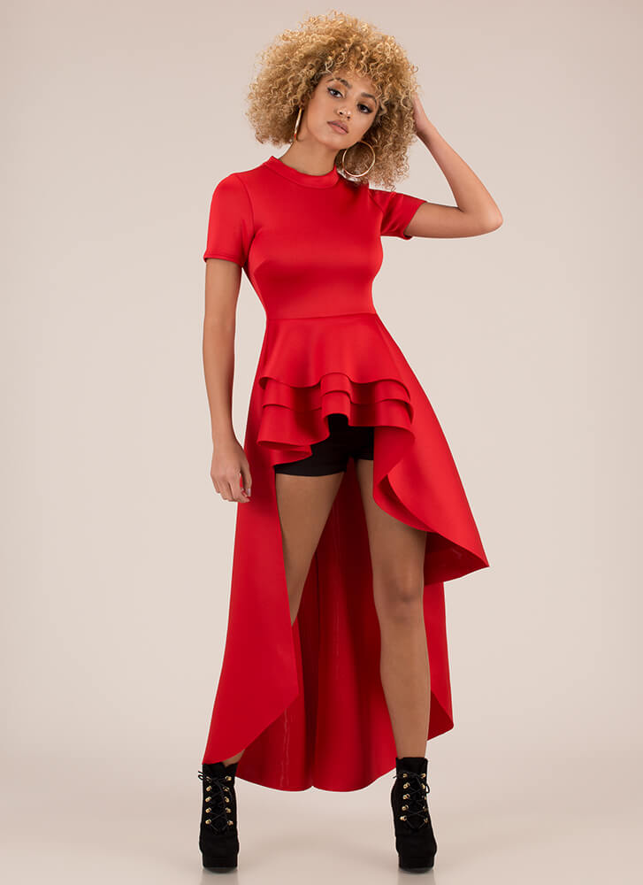 Going To Extremes High-Low Peplum Top RED