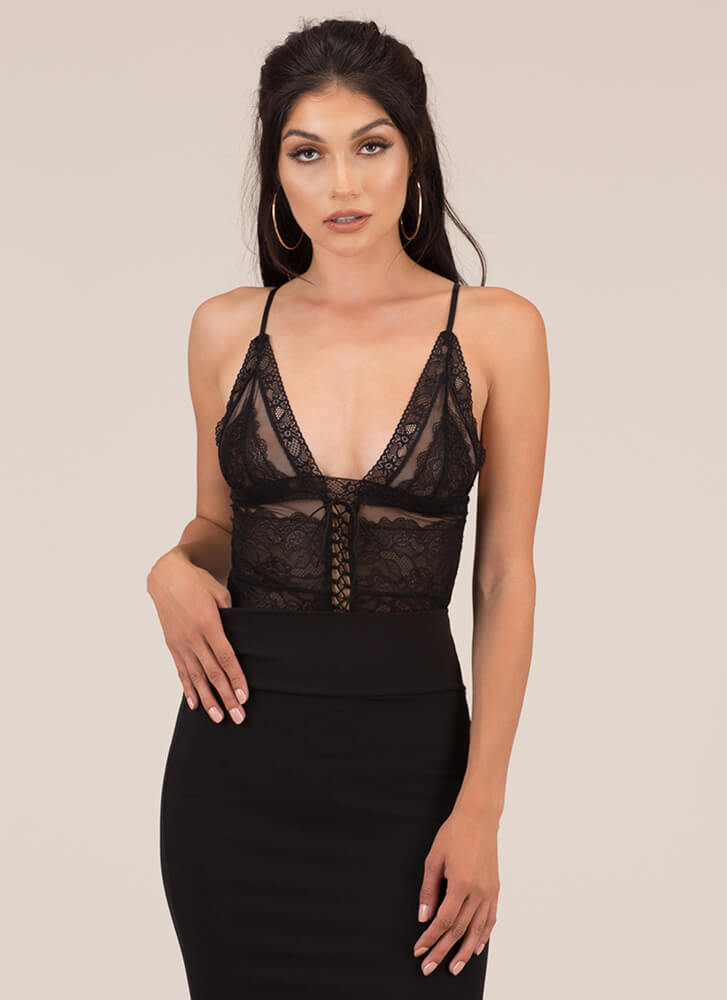 Just Mesh And Lace Lace-Up Bodysuit BLACK
