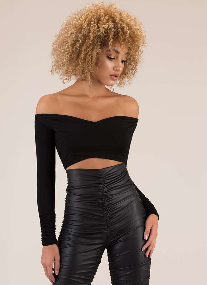 My Assets Wrapped Off-Shoulder Crop Top BLACK