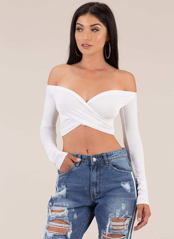 My Assets Wrapped Off-Shoulder Crop Top WHITE