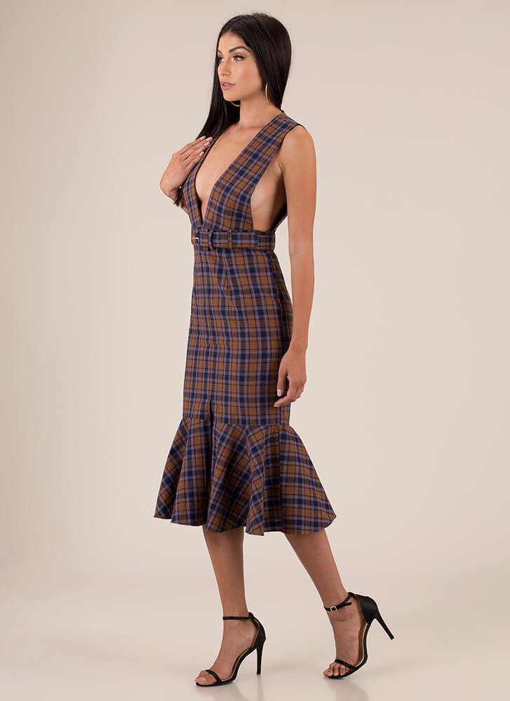Plaid Please Plunging Belted Dress BROWN