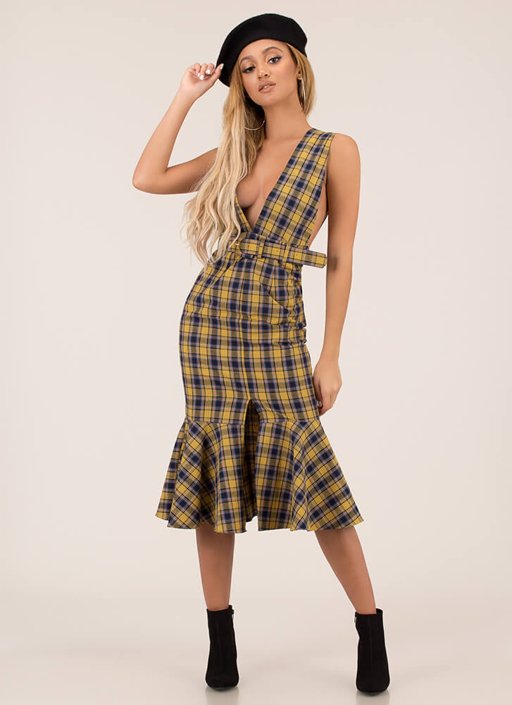 Plaid Please Plunging Belted Dress YELLOW
