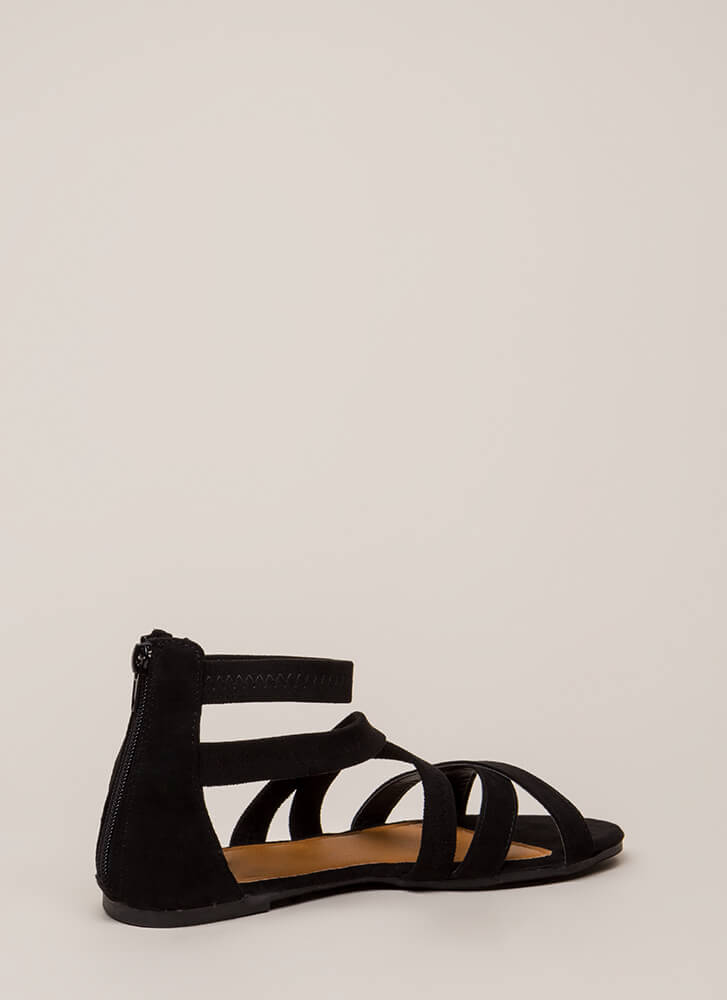 Crisscrossed My Mind Strappy Sandals BLACK
