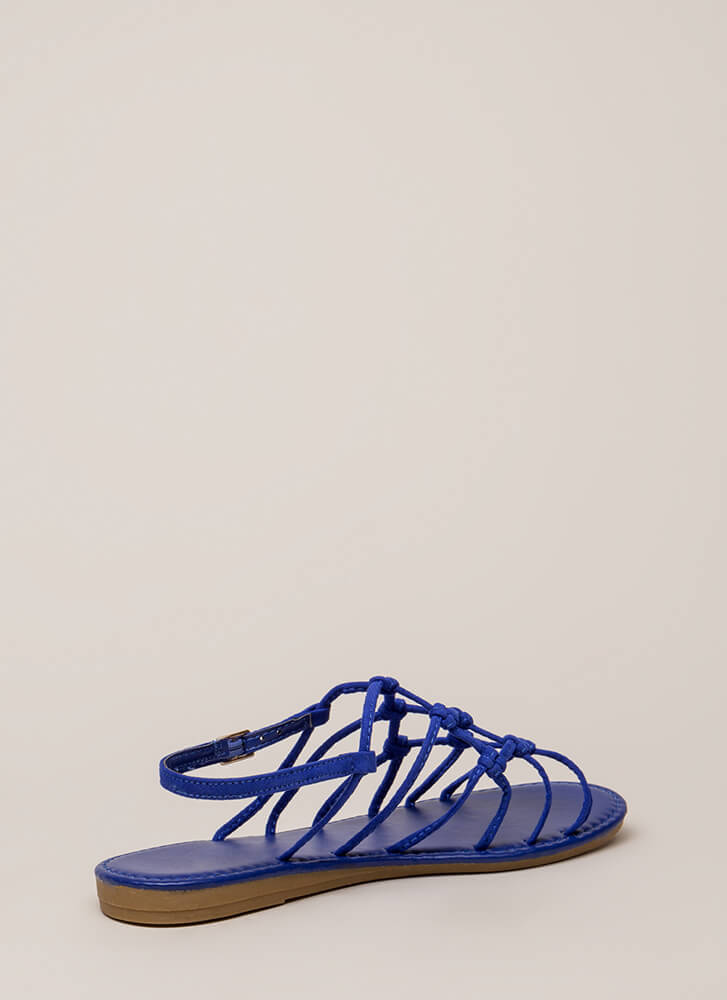 Knot Unexpected Strappy Caged Sandals ELECTRICBLUE