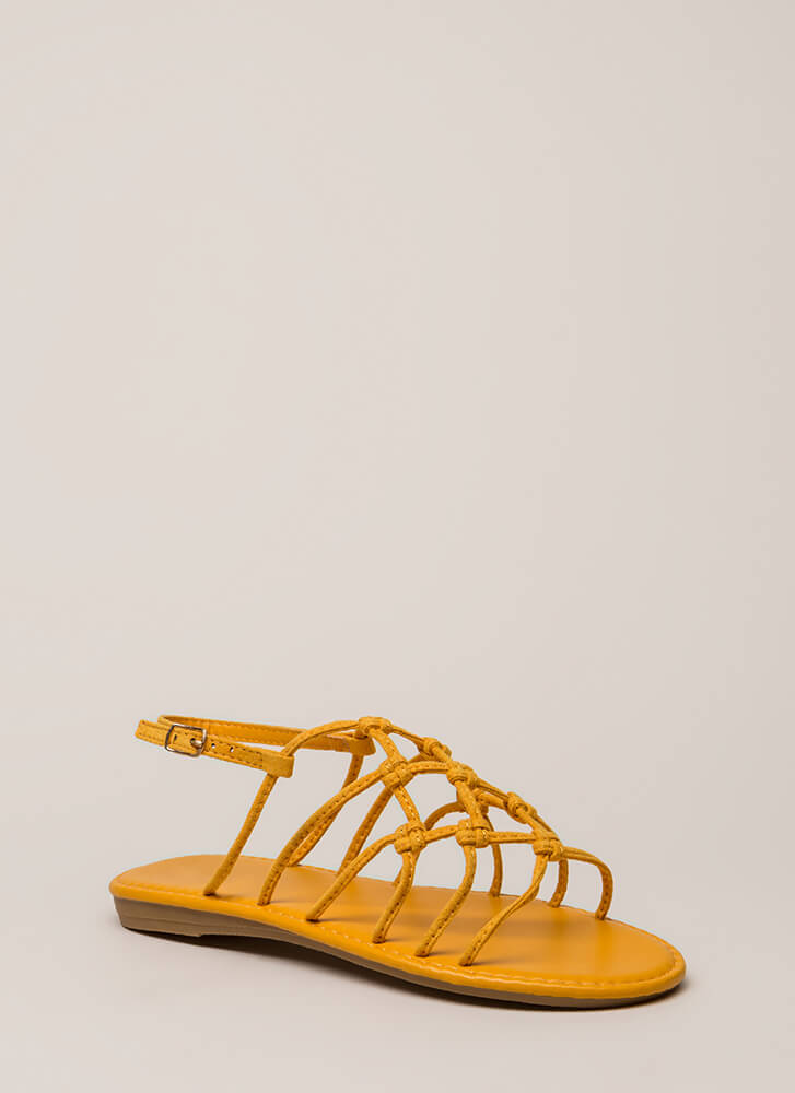Knot Unexpected Strappy Caged Sandals MARIGOLD