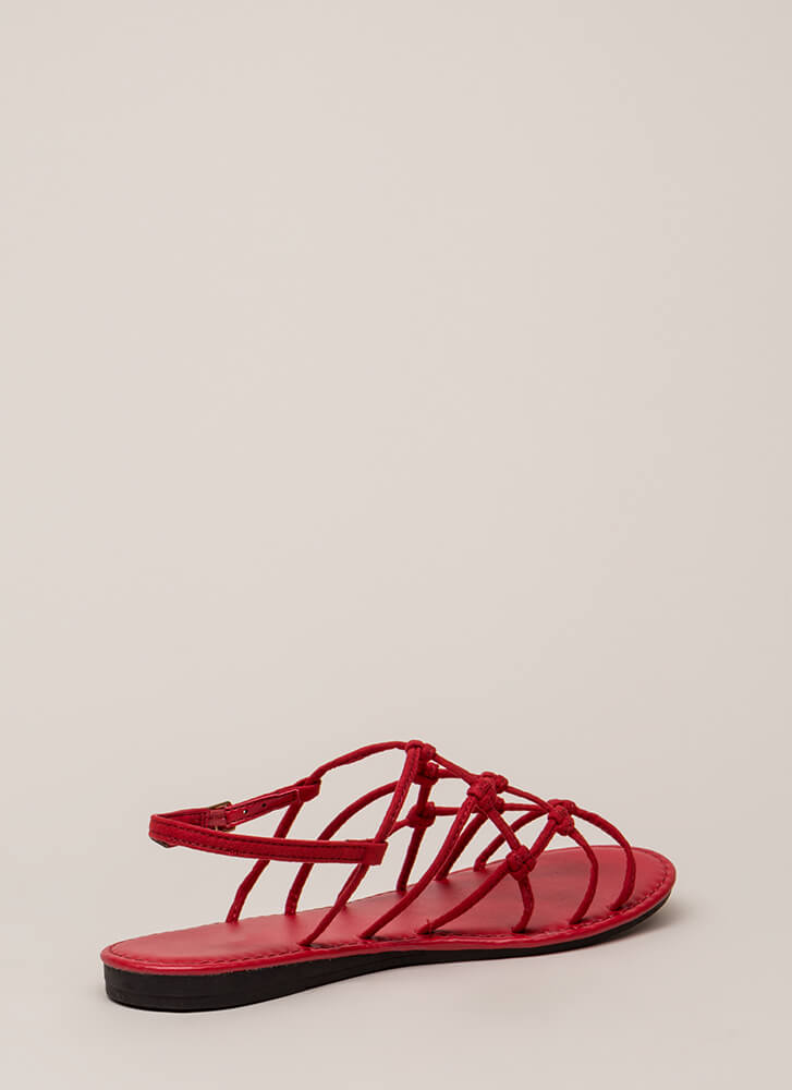 Knot Unexpected Strappy Caged Sandals RED