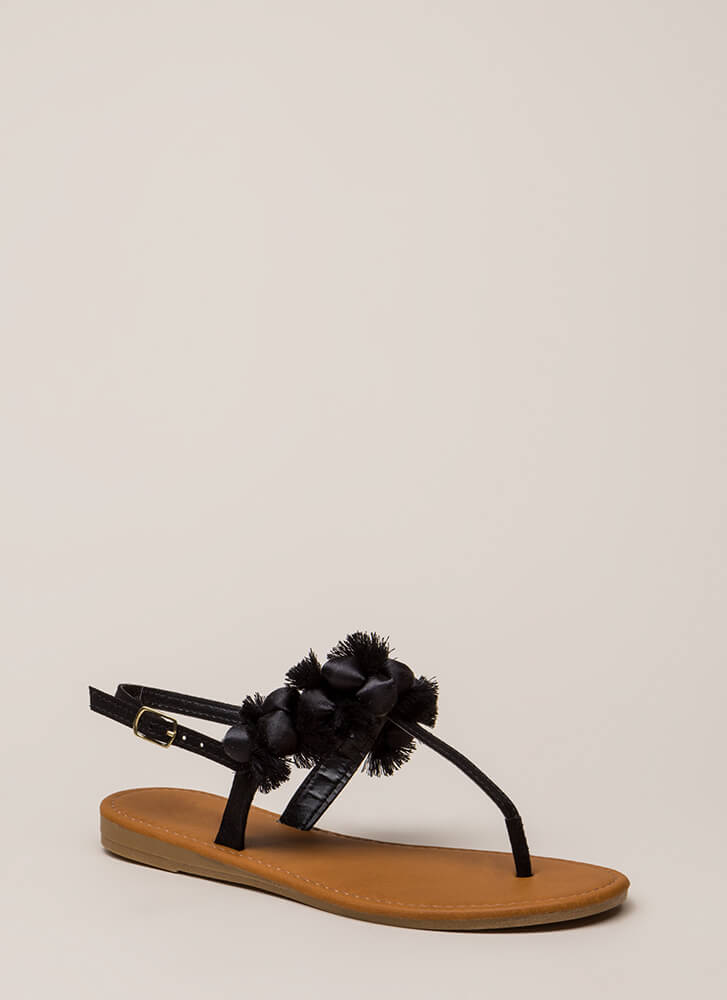 Pom-Pom Party Fringed T-Strap Sandals BLACK