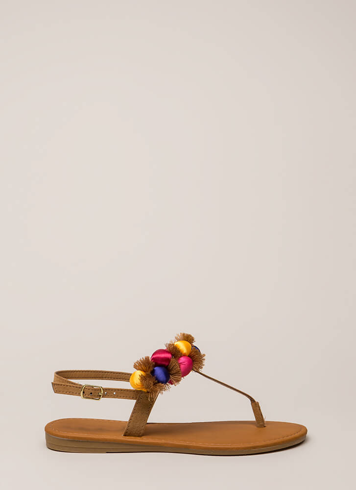 Pom-Pom Party Fringed T-Strap Sandals TAN
