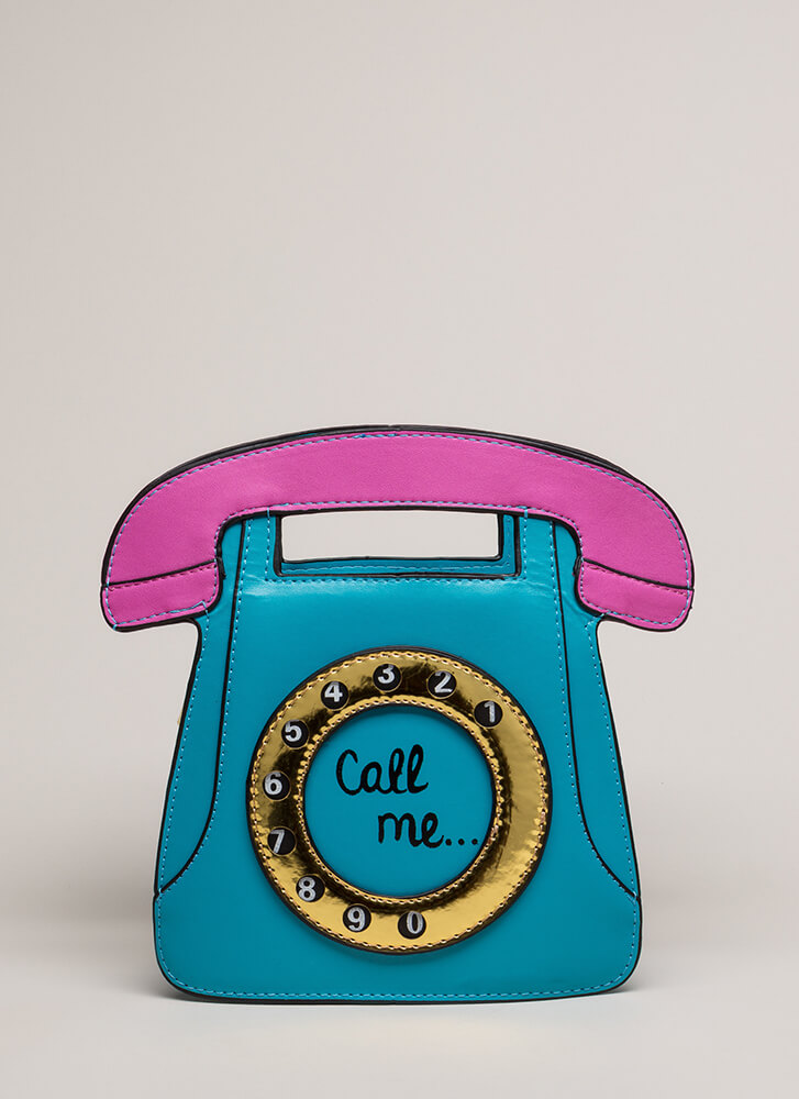 Call Me Rotary Phone Novelty Clutch BLUE