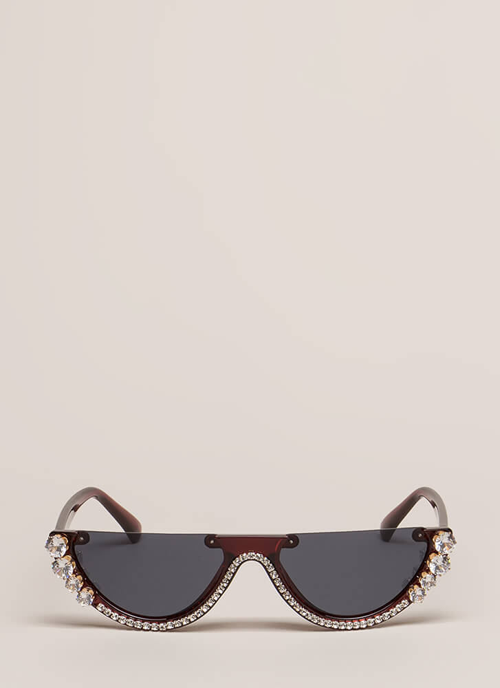 Blings Out Your Eyes Halved Sunglasses BROWN