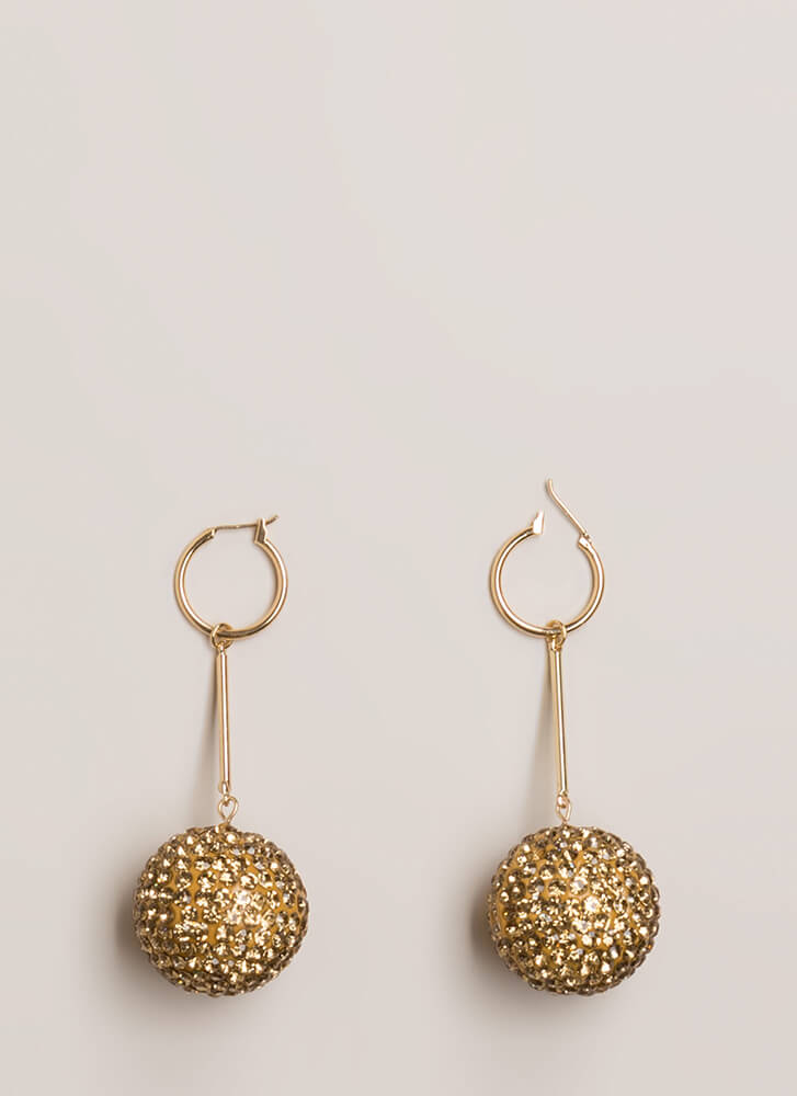 New Year's Eve Disco Ball Earrings GOLD