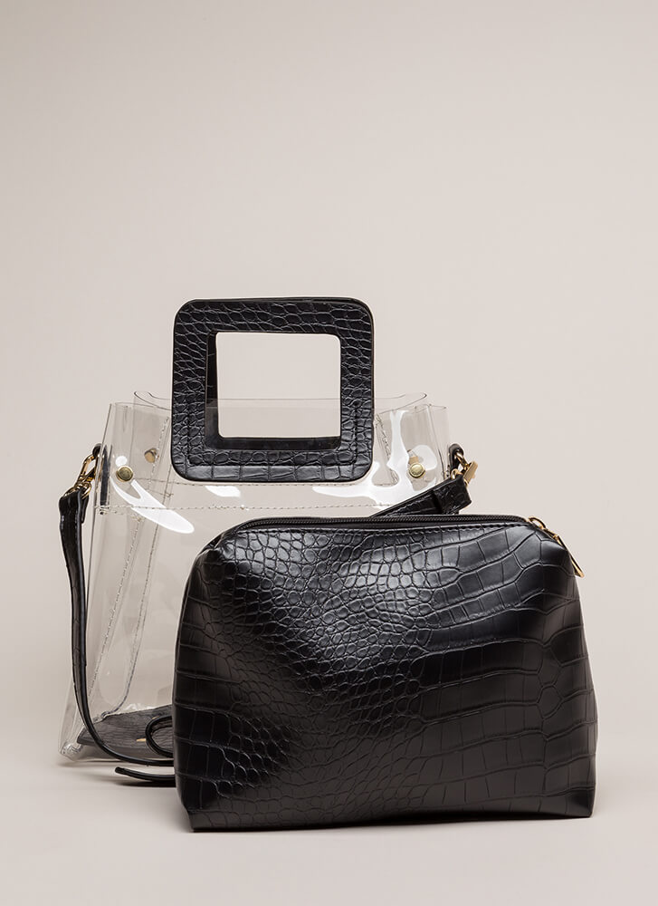 What A Croc Clear Two-Piece Tote Bag BLACK