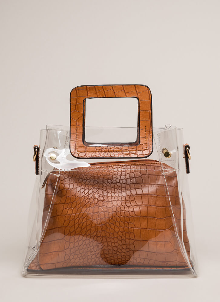 What A Croc Clear Two-Piece Tote Bag BROWN