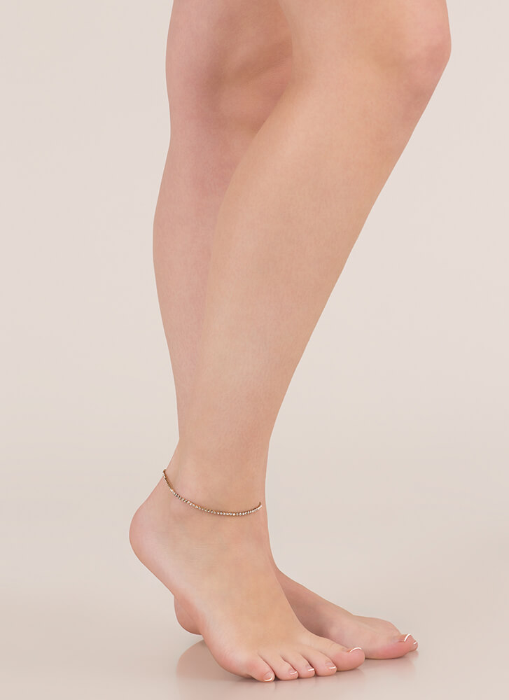 Head-To-Toe Sparkle Rhinestone Anklet GOLD