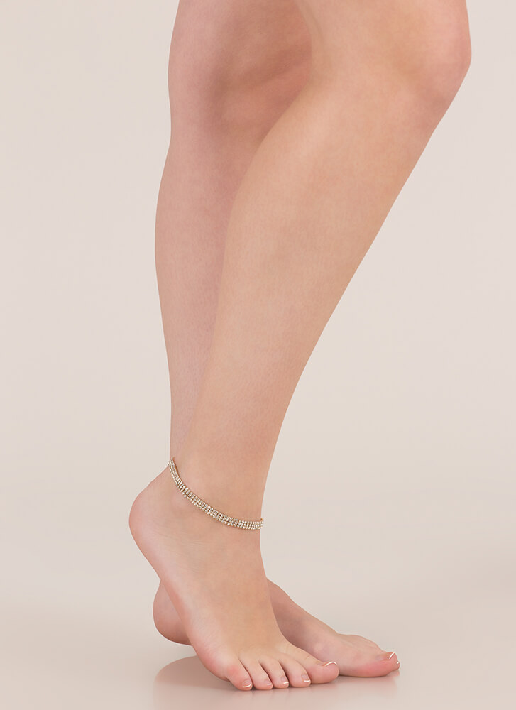 Head-To-Toe Sparkle Faux Diamond Anklet GOLD