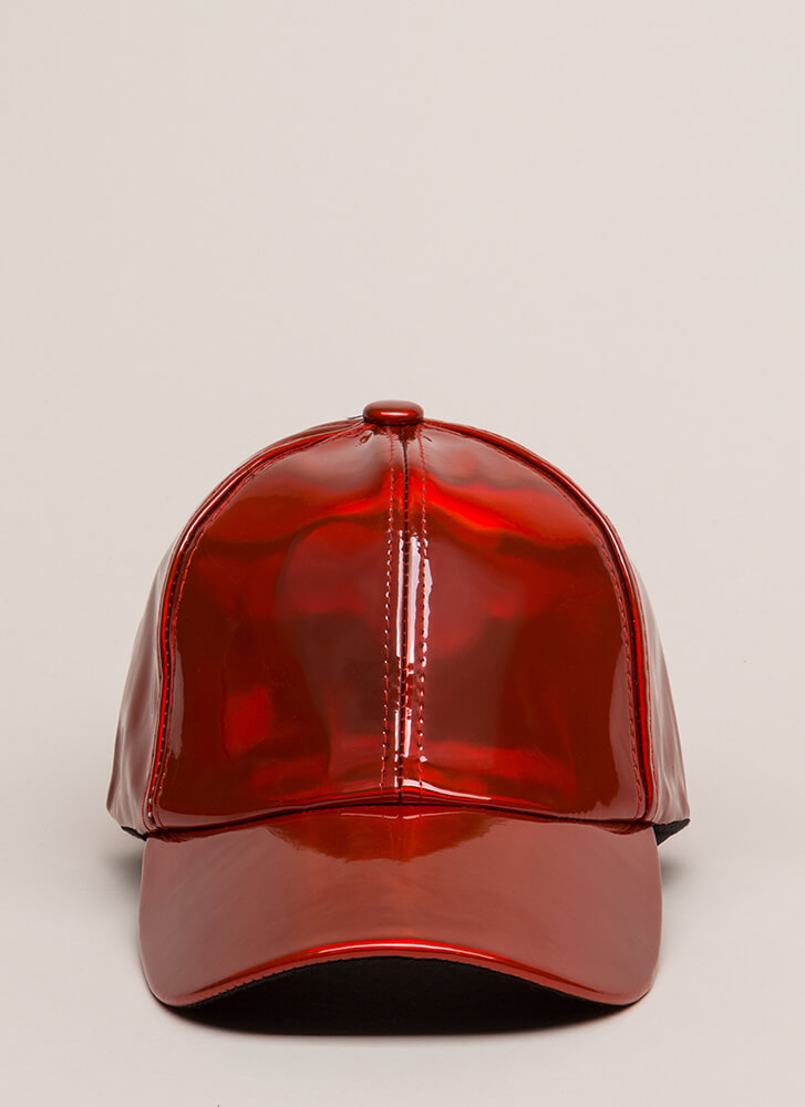 Gloss Baby Faux Patent Baseball Cap RED