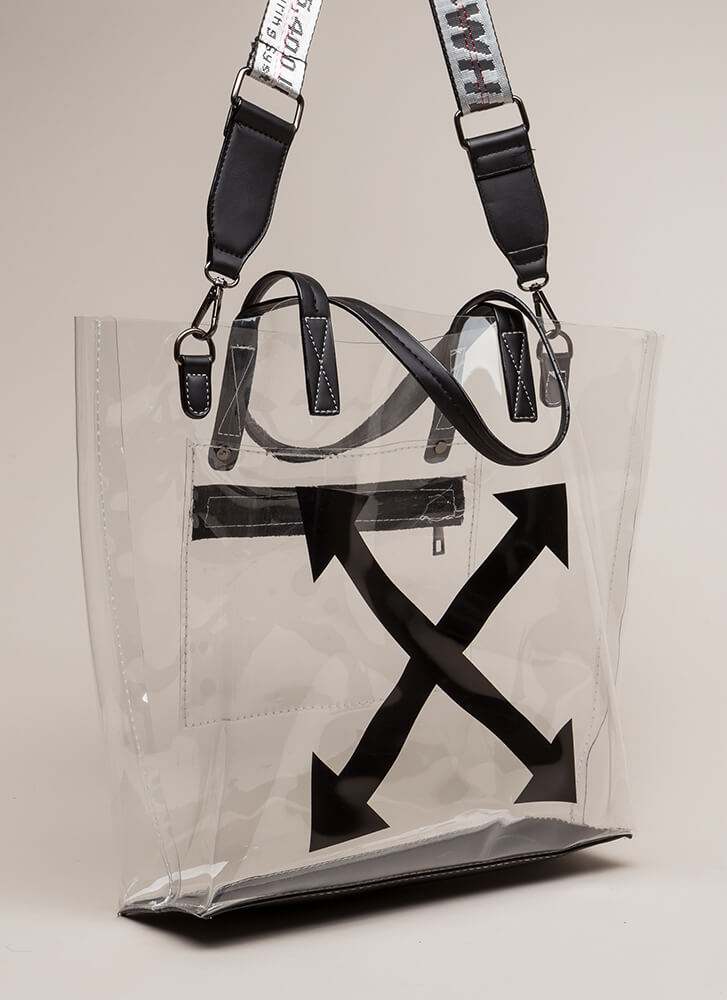 Style Intersection Clear Tote Bag WHITE