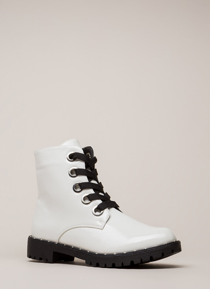 Always Edgy Studded Combat Boots WHITE