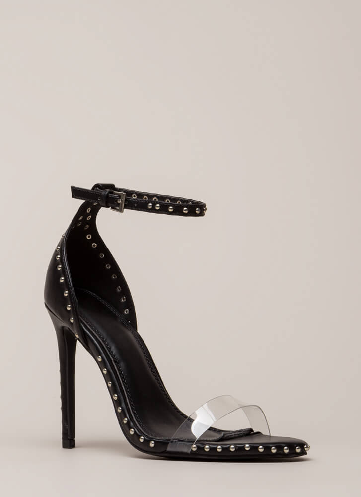 Clearly Stated Studded Ankle Strap Heels BLACK