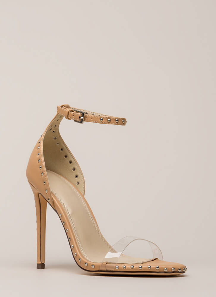 Clearly Stated Studded Ankle Strap Heels NUDE