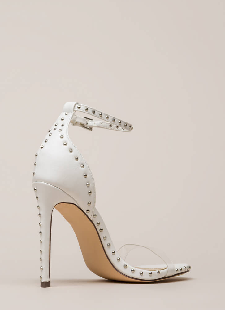 Clearly Stated Studded Ankle Strap Heels WHITE
