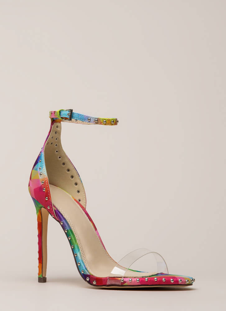 Clearly Stated Studded Rainbow Heels MULTI