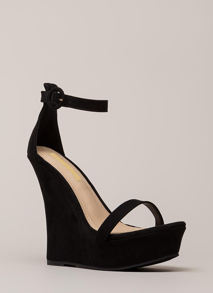 High Society Faux Suede Platform Wedges BLACK