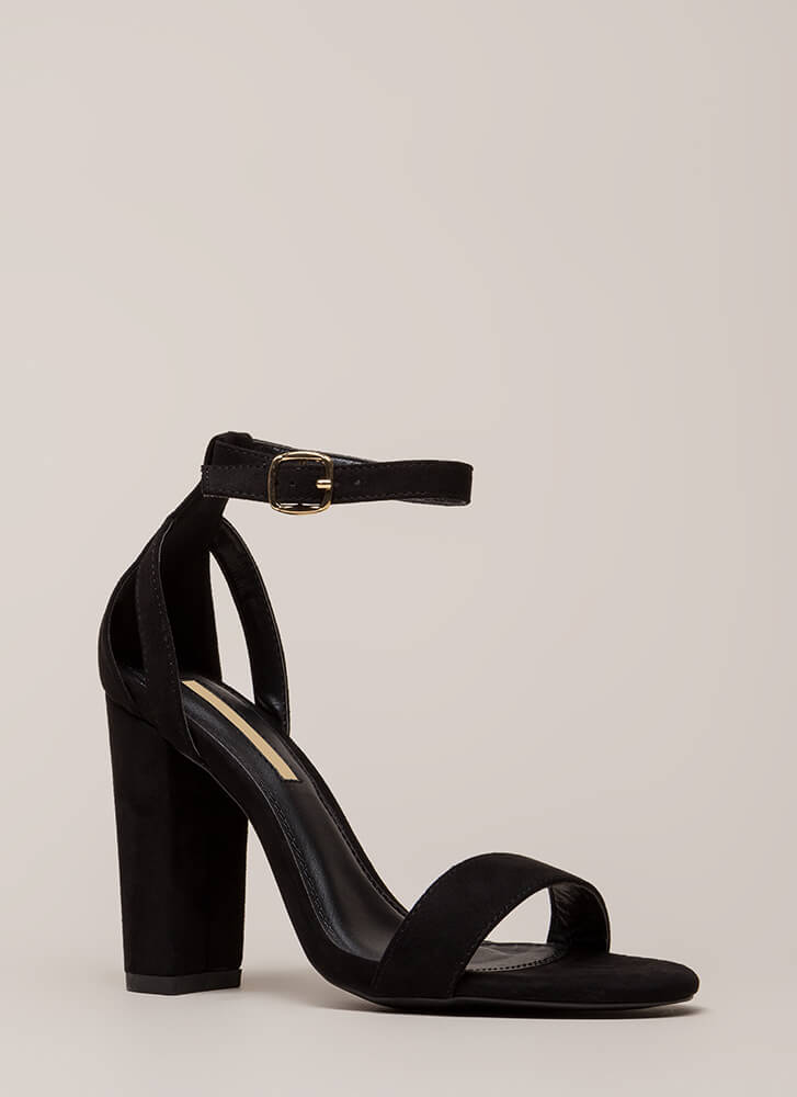 Strap To It Faux Suede Chunky Heels BLACK