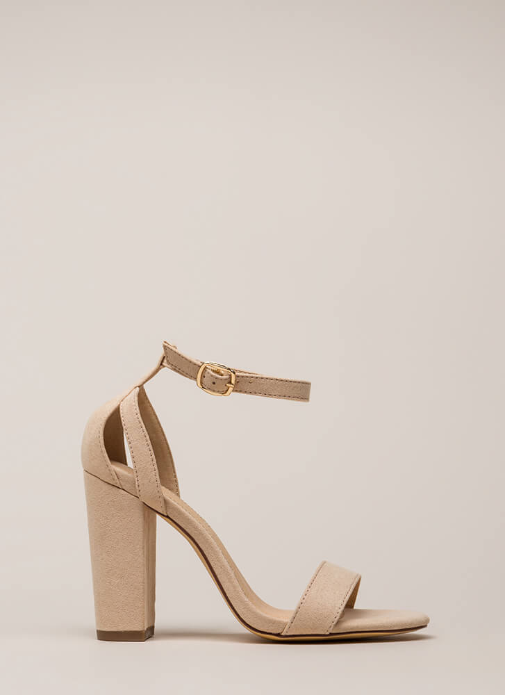 Strap To It Faux Suede Chunky Heels NUDE