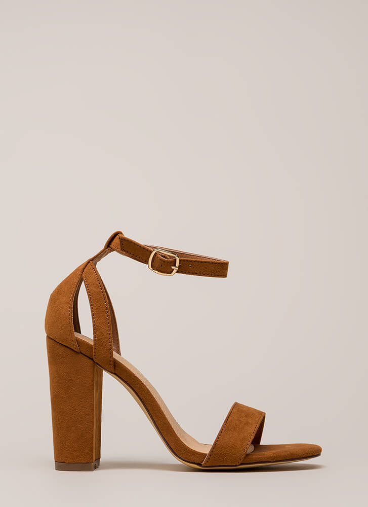 Strap To It Faux Suede Chunky Heels TAN