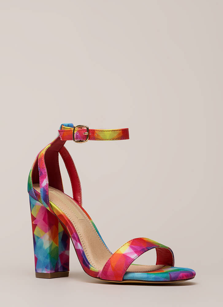 Strap To It Rainbow Chunky Heels RAINBOW