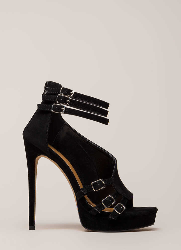 Straps And Buckles Velvet Platforms BLACK