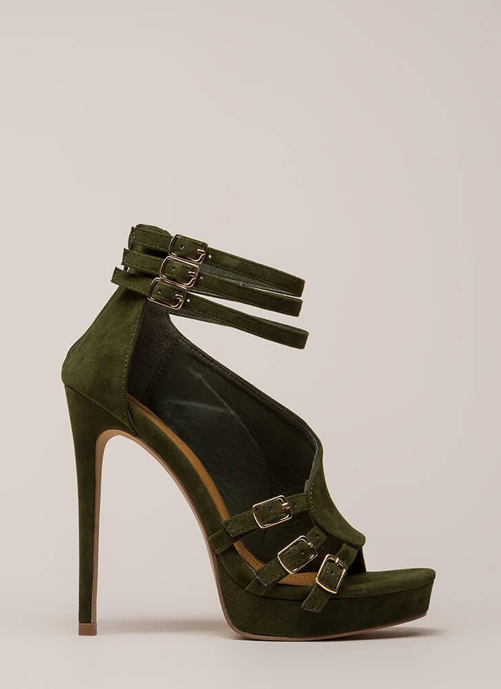 Straps And Buckles Velvet Platforms HUNTERGREEN