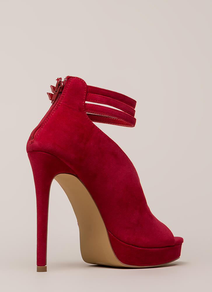 Straps And Buckles Velvet Platforms RED