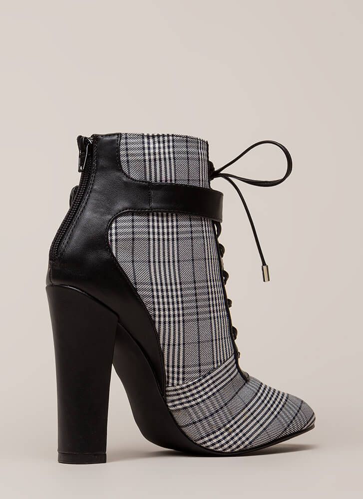 Plaid About You Chunky Lace-Up Booties BLACK