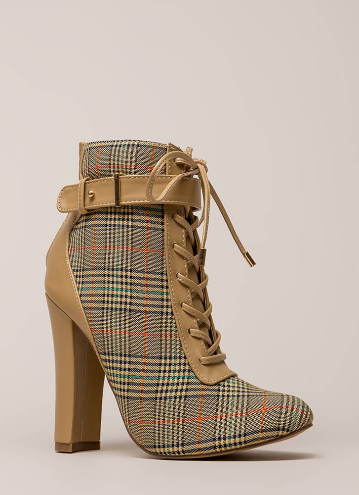 Plaid About You Chunky Lace-Up Booties CAMEL
