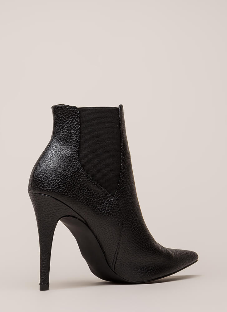 Crackle And Pop Pointy Stiletto Booties BLACK