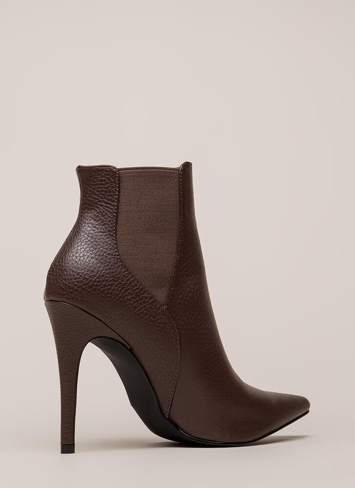 Crackle And Pop Pointy Stiletto Booties BROWN