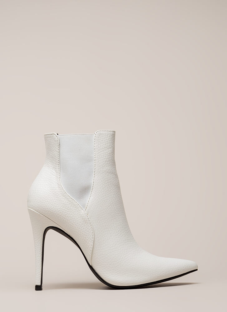 Crackle And Pop Pointy Stiletto Booties WHITE