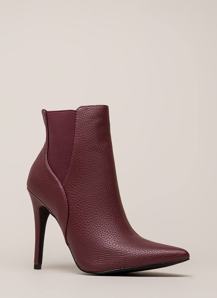 Crackle And Pop Pointy Stiletto Booties WINE