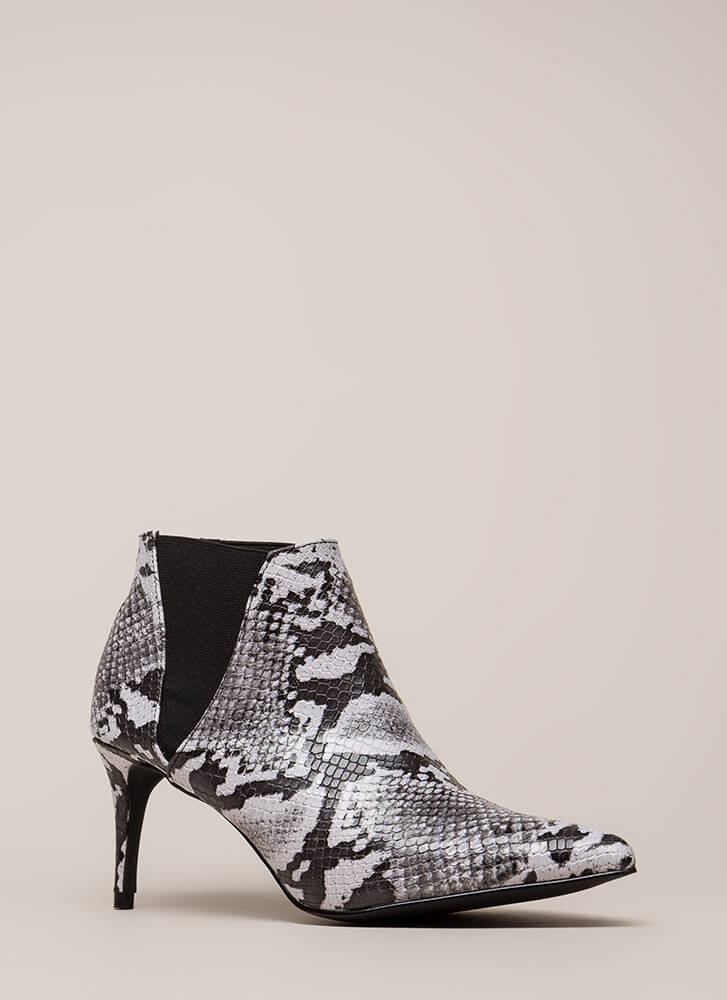 Short And Chic Pointy Faux Snake Booties BLACK